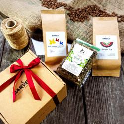 Zestaw prezentowy mały - 2x100g kawa+100g herbata