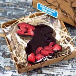 Zając z czekolady ciemnej z truskawkami 100g - Beskid