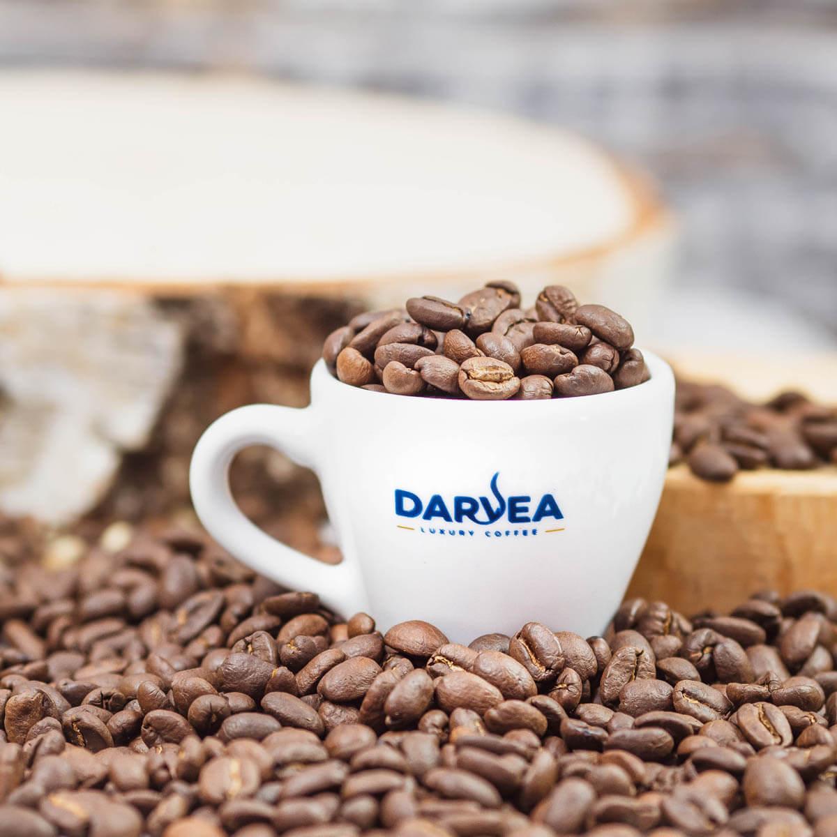 Ziarna kawy w filiżance espresso